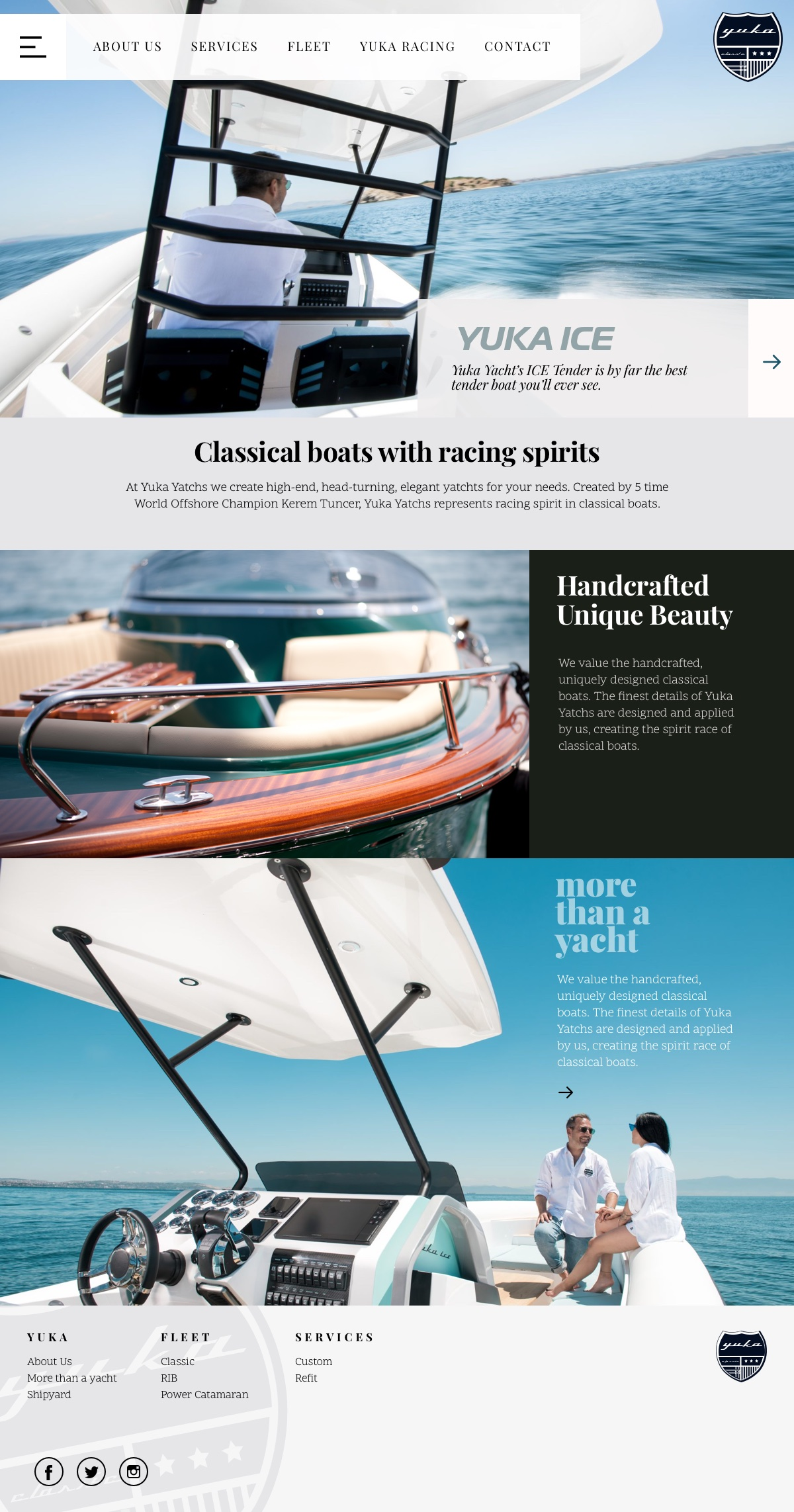Yuka Yachts - UI,UX Design & Wordpress Customization by Gokcin Onur